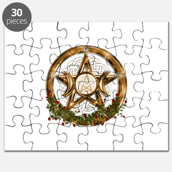 Gold Triple Moon Pentacle Puzzle