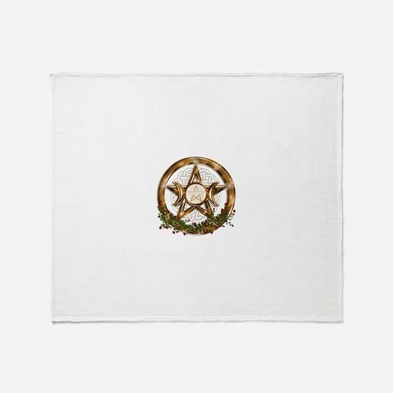 Gold Triple Moon Pentacle Throw Blanket