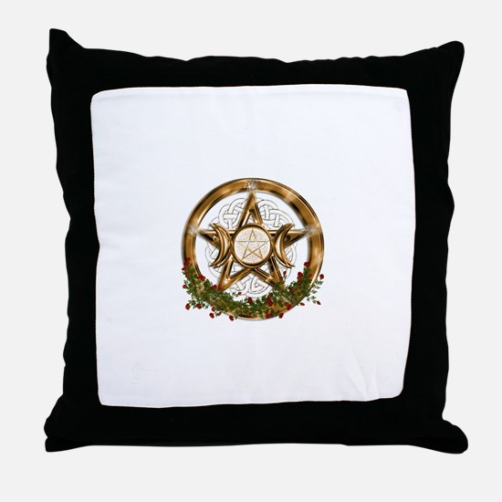 Gold Triple Moon Pentacle Throw Pillow