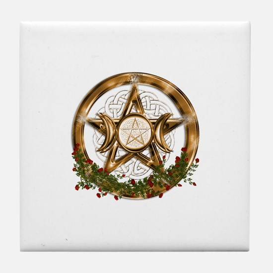 Gold Triple Moon Pentacle Tile Coaster