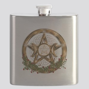 Gold Triple Moon Pentacle Flask