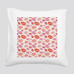 Watercolor Lips & Gold Do Square Canvas Pillow