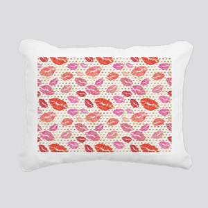 Watercolor Lips & Go Rectangular Canvas Pillow
