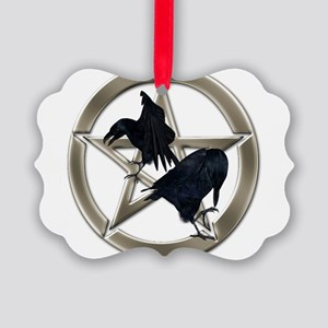 Silver Raven Pentacle Ornament