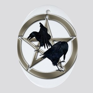 Silver Raven Pentacle Ornament (Oval)
