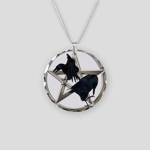 Silver Raven Pentacle Necklace