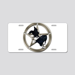Silver Raven Pentacle Aluminum License Plate
