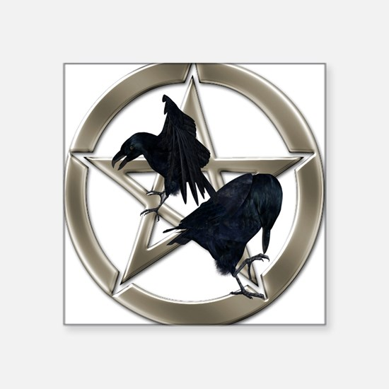 Silver Raven Pentacle Sticker