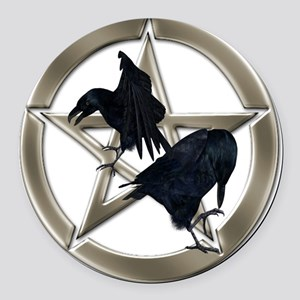 Silver Raven Pentacle Round Car Magnet