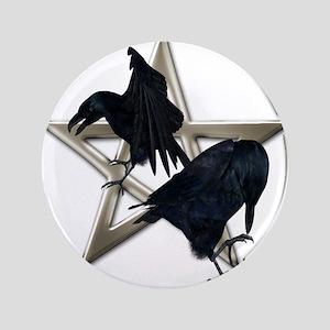 Silver Raven Pentacle Button