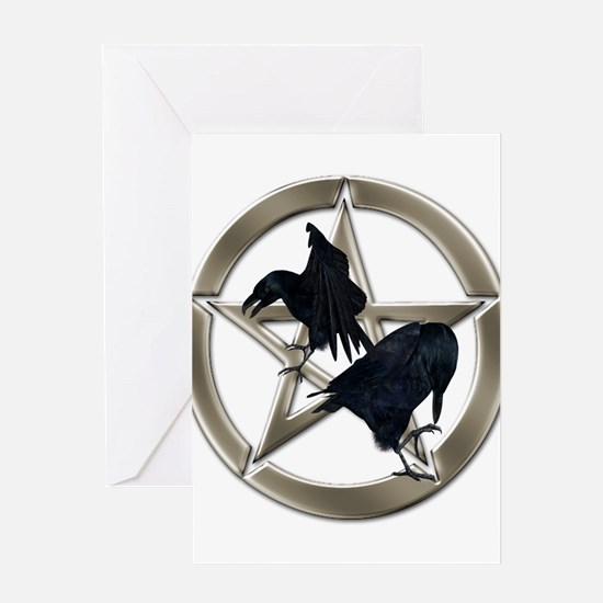 Silver Raven Pentacle Greeting Cards