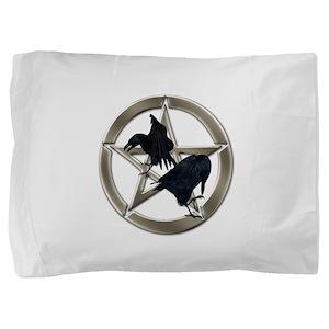 Silver Raven Pentacle Pillow Sham