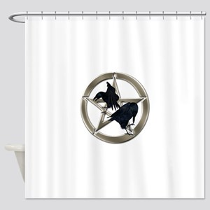 Silver Raven Pentacle Shower Curtain