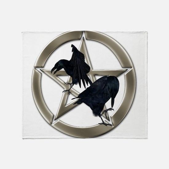Silver Raven Pentacle Throw Blanket