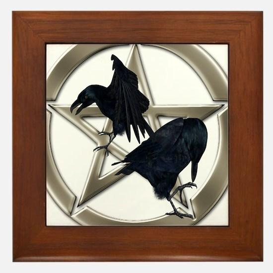 Silver Raven Pentacle Framed Tile