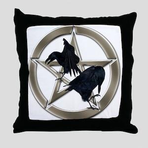 Silver Raven Pentacle Throw Pillow