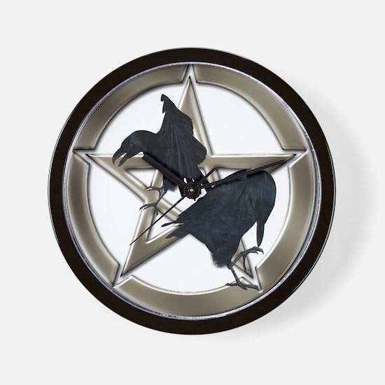 Silver Raven Pentacle Wall Clock