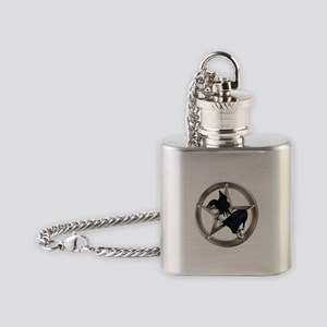 Silver Raven Pentacle Flask Necklace