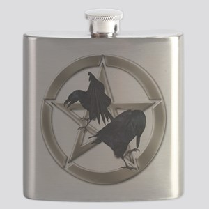 Silver Raven Pentacle Flask