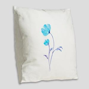 Watercolor Blue Poppies Burlap Throw Pillow