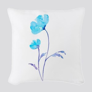 Watercolor Blue Poppies Woven Throw Pillow