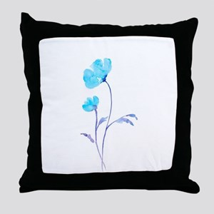 Watercolor Blue Poppies Throw Pillow
