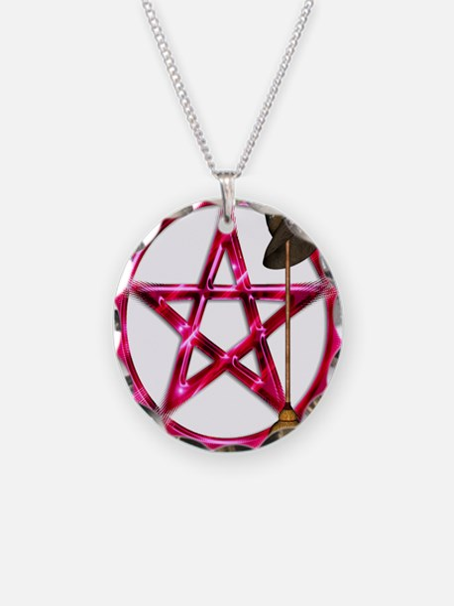 Pink Pentacle Broom - Hat Necklace