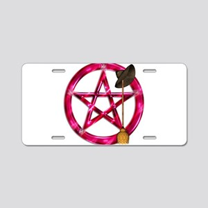 Pink Pentacle Broom - Hat Aluminum License Plate