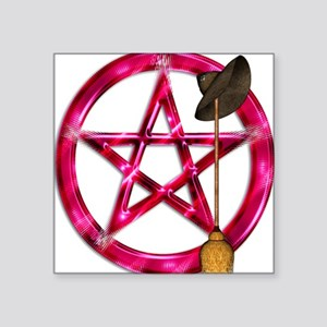Pink Pentacle Broom - Hat Sticker