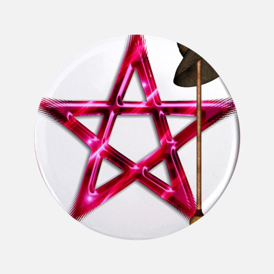 Pink Pentacle Broom - Hat Button
