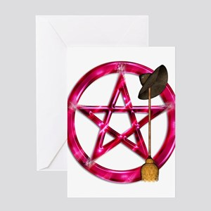 Pink Pentacle Broom - Hat Greeting Cards
