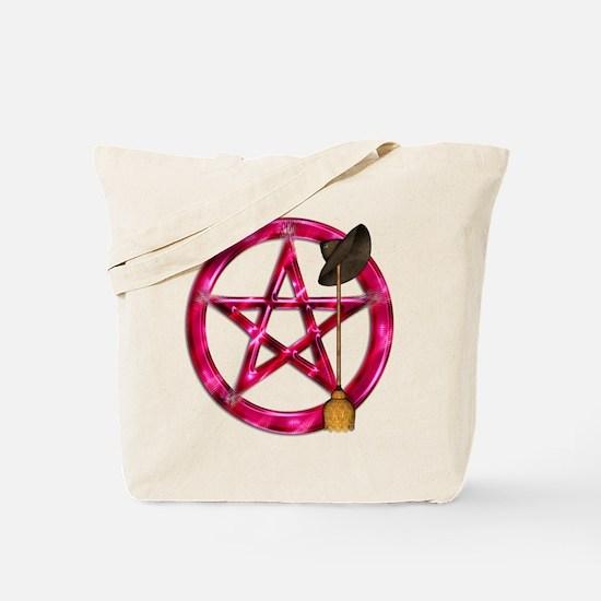 Pink Pentacle Broom - Hat Tote Bag