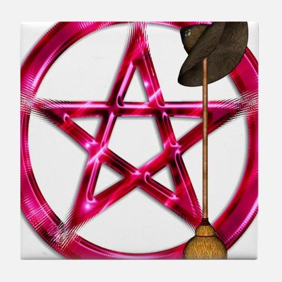 Pink Pentacle Broom - Hat Tile Coaster