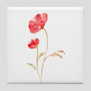Watercolor Red Poppy Tile Coaster