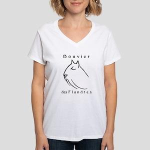Bouvier Head Sketch w/ Text Women's V-Neck T-Shirt