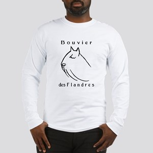 Bouvier Head Sketch w/ Text Long Sleeve T-Shirt