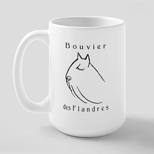 Bouvier Head Sketch w/ Text Large Mug