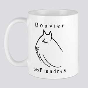 Bouvier Head Sketch w/ Text Mug