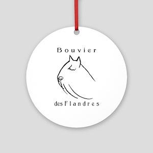 Bouvier Head Sketch w/ Text Ornament (Round)