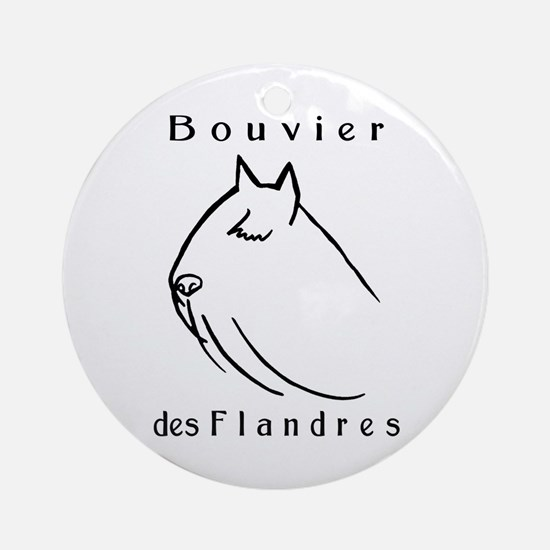 Bouvier Head Sketch w/ Text Ornament (Round)