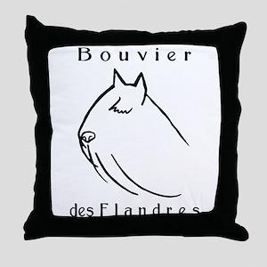 Bouvier Head Sketch w/ Text Throw Pillow