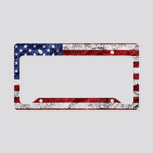 Grunge American Flag License Plate Holder