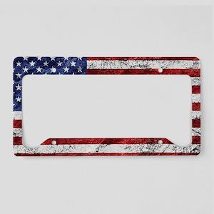 Grunge American Flag License Plate Holder
