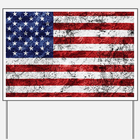 Grunge American Flag Yard Sign