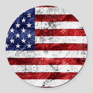 Grunge American Flag Round Car Magnet