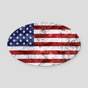 Grunge American Flag Oval Car Magnet