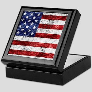 Grunge American Flag Keepsake Box