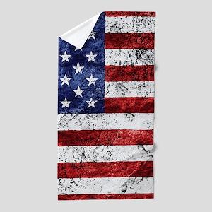 Grunge American Flag Beach Towel