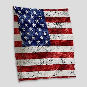 Grunge American Flag Burlap Throw Pillow
