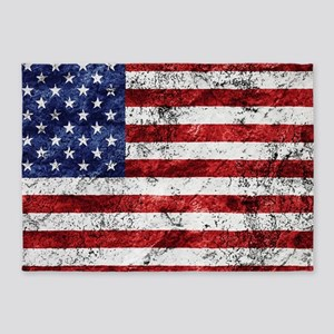 Grunge American Flag 5'x7'Area Rug